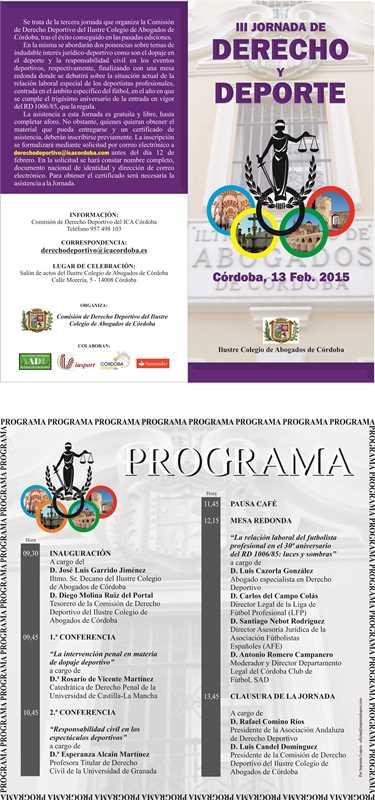Díptico de las III Jornadas de Derecho Deportivo del Ilustre Colegio de Abogados de Córdoba
