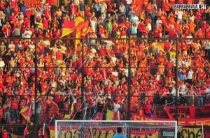 La hinchada de los rojos de la Unión Española chilena