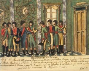 Fernando VII, Carlos IV y Napoleón jugándose en Bayona la soberanía nacional a los chinos o al tute cabrón