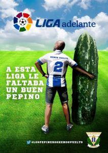 Original y llamativo cartel publicitario para captar abonados del Leganés