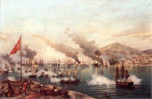 """La batalla naval de Navarino"", cuadro de Ambroise Louis Garneray  (1827)"